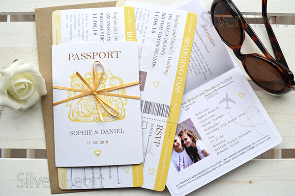 Passport Diy Bow Wedding Invitations For Weddings Abroad Travel