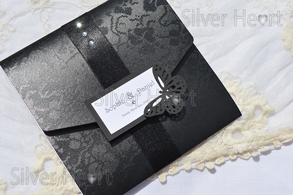 Gothic Diamante wedding stationery designs Black broderie card with